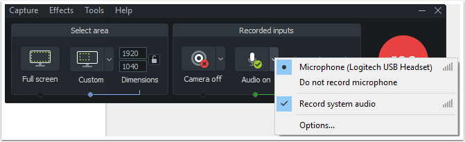 Microphone option menu.