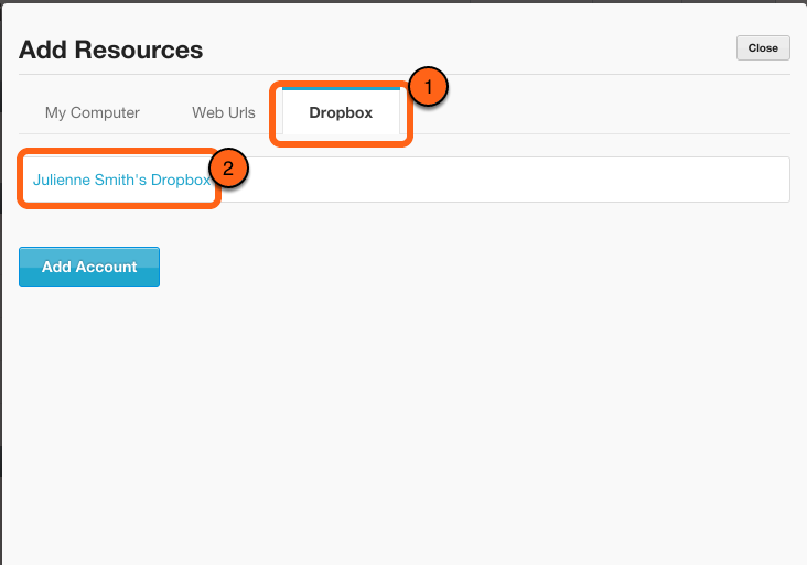 Click on the Dropbox tab and click on the name of your Dropbox Account