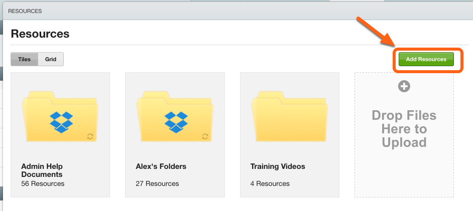 """Click """"Add Resources"""""""