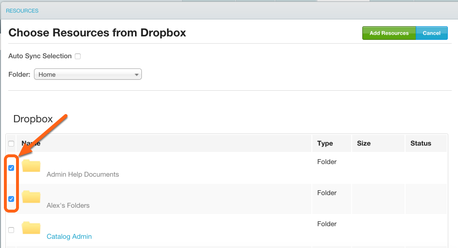All available folders and resources are displayed - check the box next to the ones you would like synced