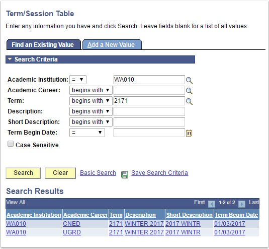Term/Session Table