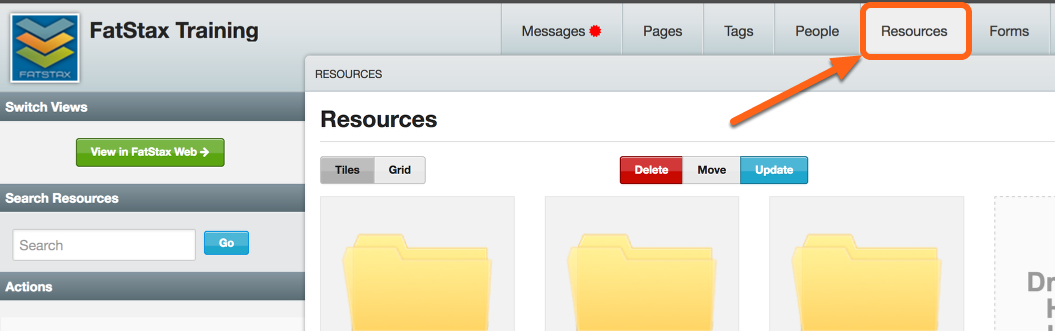 Go to Resource tab within Cloud Stax
