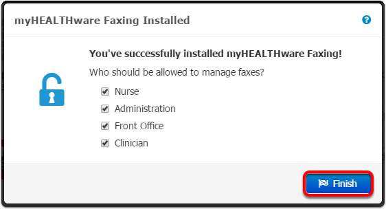 7. Set Security Permissions for myHEALTHware Faxing
