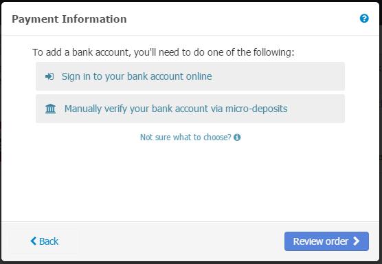 - Bank Account
