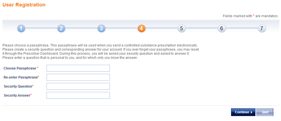 Create a Passphrase and Security Question