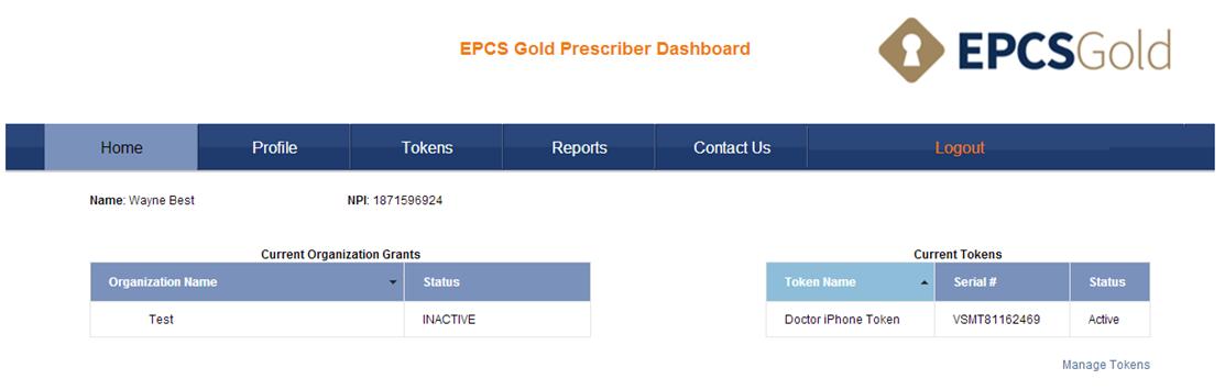 EPCS Gold Prescriber Dashboard