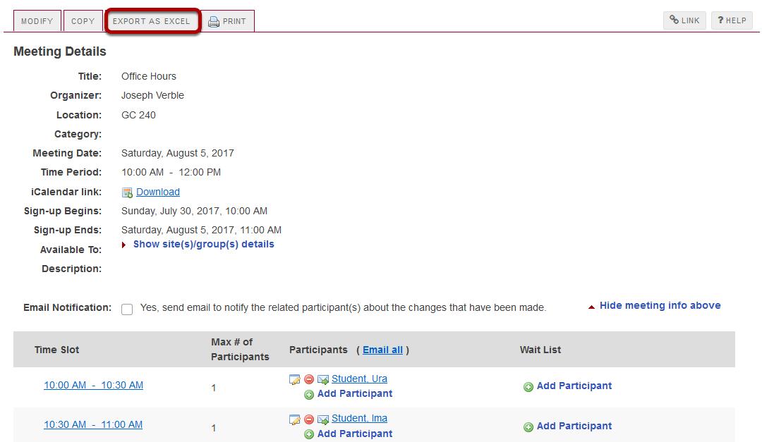 Click Export as Excel.