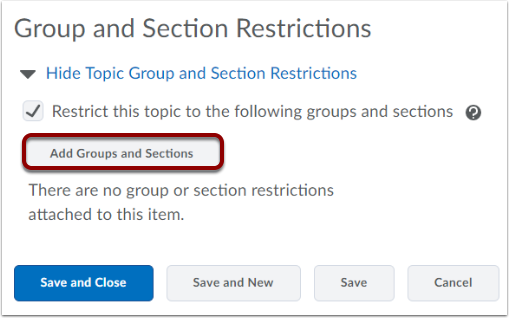 Add Groups and Sections