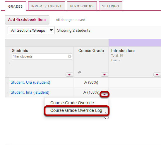 In the Course Grades column, select the down arrow within the cell for the student's grade and choose Course Grade Override Log.