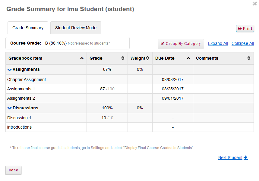 The student's individual grade summary will appear.