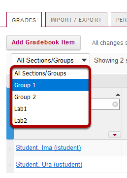 Filter by section/group.