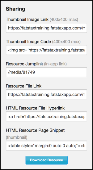 HTML Resource Page Snippet