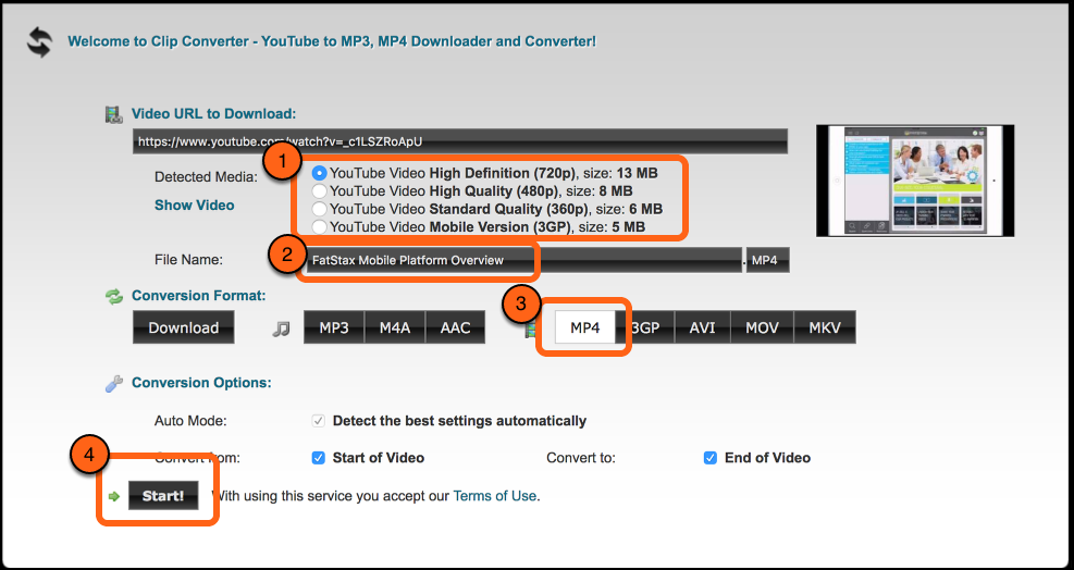 After the URL is processed, select your video size, select MP4 format, and select Start