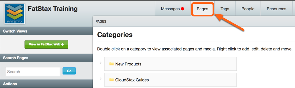1. Select your catalog within CloudStax and navigate to the Pages tab.