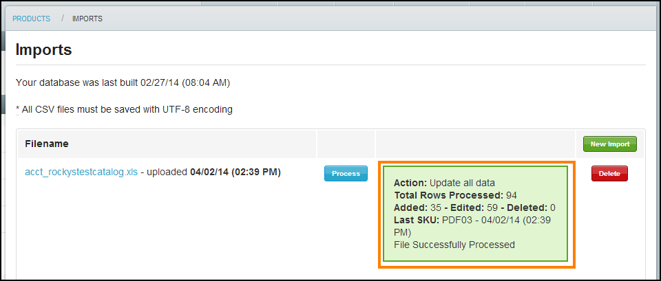 8. Wait until the file finishes processing. The processing box will turn green when it has successfully completed.