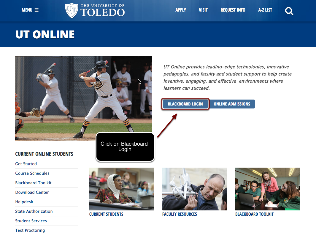 Image of the UT Online homepage with the Blackboard Login link highlighted with a text annotation pointing to the buttion explaining to click on Blackboard Login