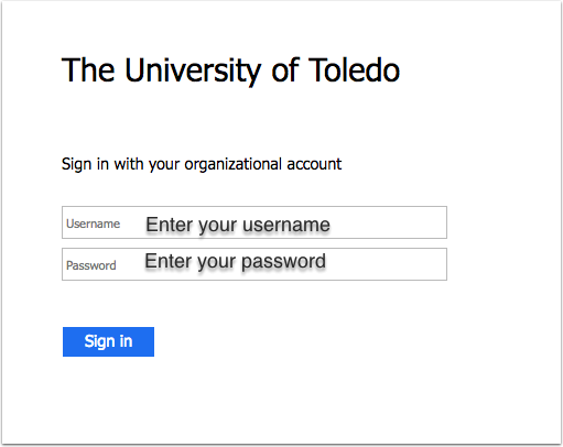 Image of the MyUT login page