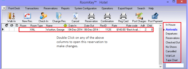 Double Click on Reservations to Change