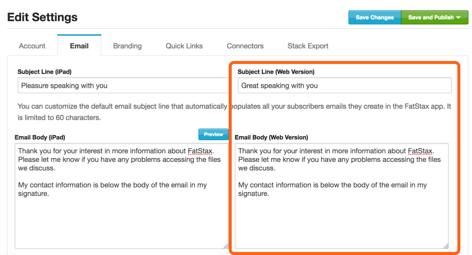 Add the email subject and body within the Web Version section