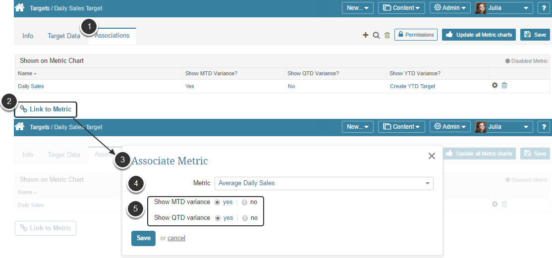 Associate a Metric with a Target