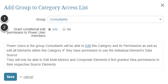 Add Group/User access to the Category