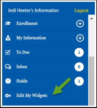Edit My Widgets menu option