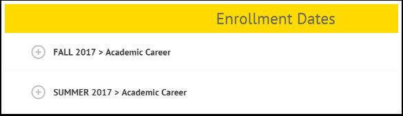 Enrollment Dates term selection