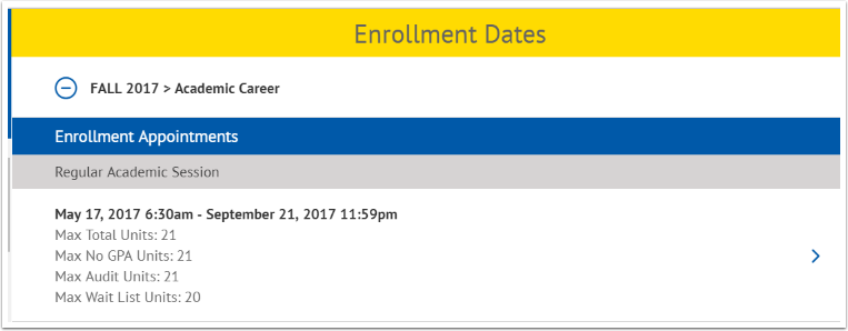 Enrollment Appointments page