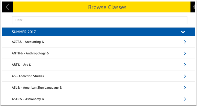 Browse Classes page