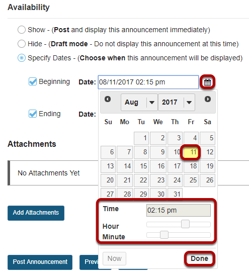 Use calendar icon to insert date and time.