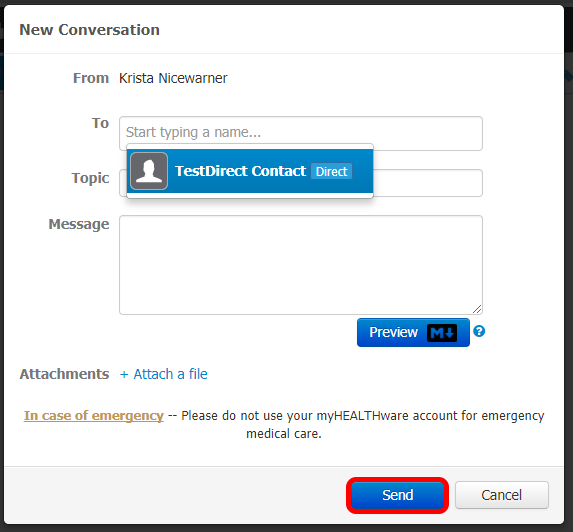 New Conversation Box: Send a Message Selection
