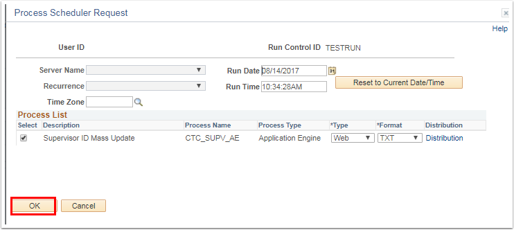 Process Scheduler Request section