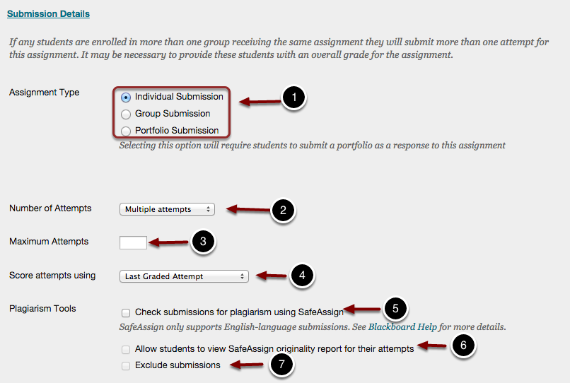 Setting up Assignment Submission Details