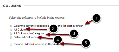 Image of the Columns section with the following options and annotations: 1.Columns currently displayed in the grid (in display order): Select this option to include the current grade center view.2.All Columns: Select this option to include all grade center columns.3.Al Columns in Category: Select this option to include all columns within a selected category.4.Selected Columns: Choose this option to individually select columns for inclusion in the report.5.Include Hidden Columns in Reports: Check this checkbox to include columns hidden from the Grade Center.