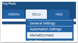 Setup > MarketConnect