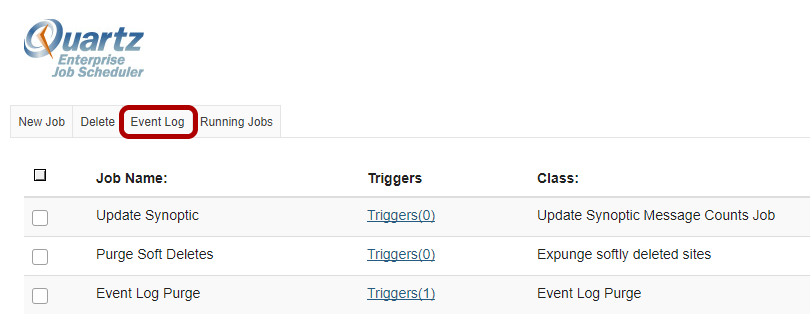 Click on Event Log to view the log.