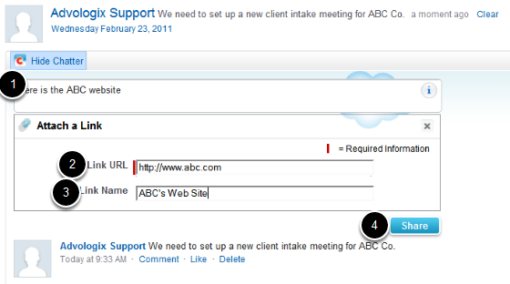 Add Web Site Links To Your Chatter Comments