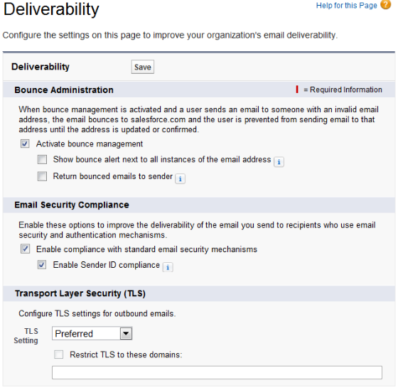 Deliverability Configuration Screen