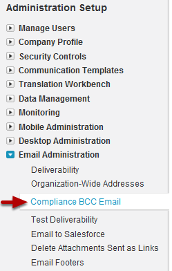 Navigate to Compliance BCC Email