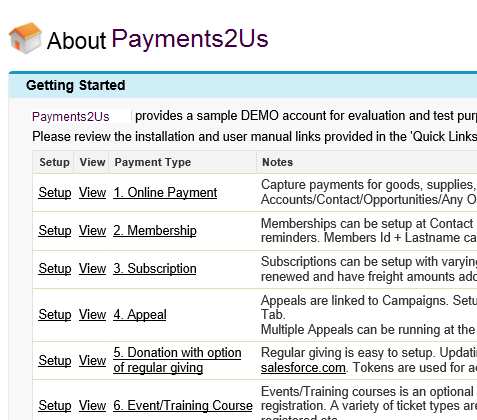 Navigate to 'About Payments2Us' tab and select a web form