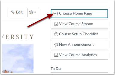 Choose Home Page icon