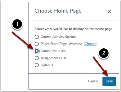 Choices for Setting Home Page