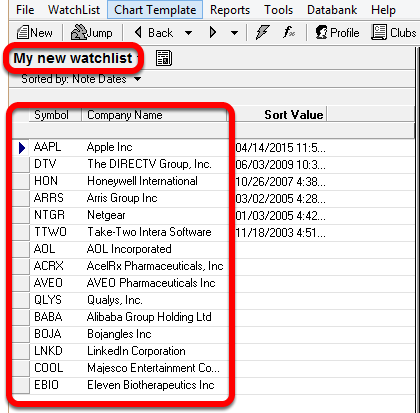 11. Your WatchList has now been added as a new Personal WatchList in TC2000 v7