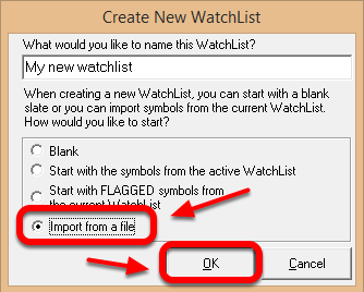 9. Select the bullet point for Import from a file, and then Left click OK