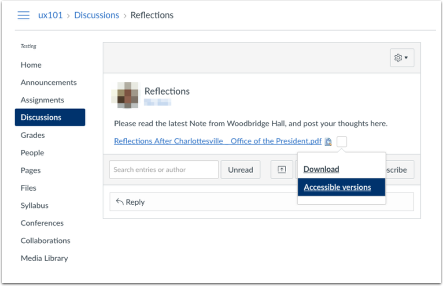 Screenshot of discussions area showing that when the file is in content area, the drop-down arrow is available for accessible versions.