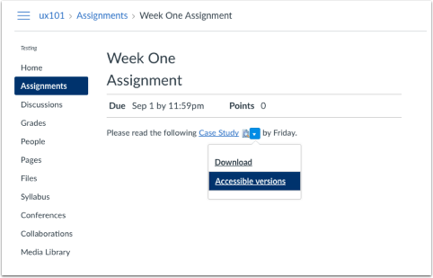 Screenshot of assignments area showing that when the file is in content area, the drop-down arrow is available for accessible versions.