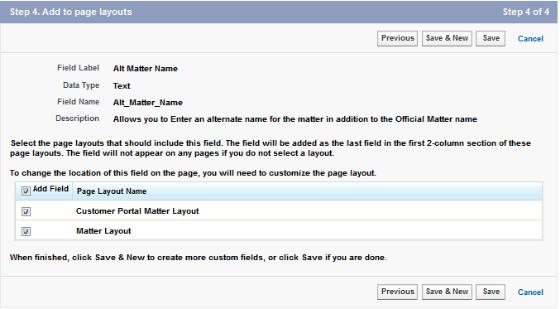 Matter: New Custom Field ~ Step 3. Establish field-level security