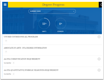 Degree progress page