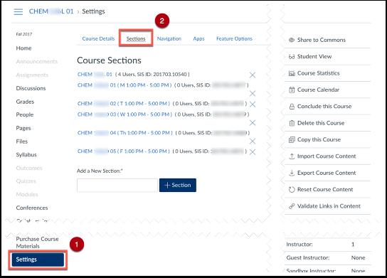 screenshot of sections tab in settings.