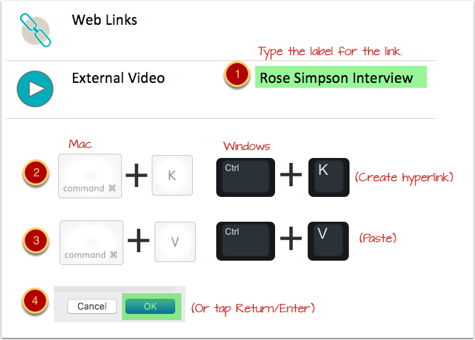 Create and edit the link